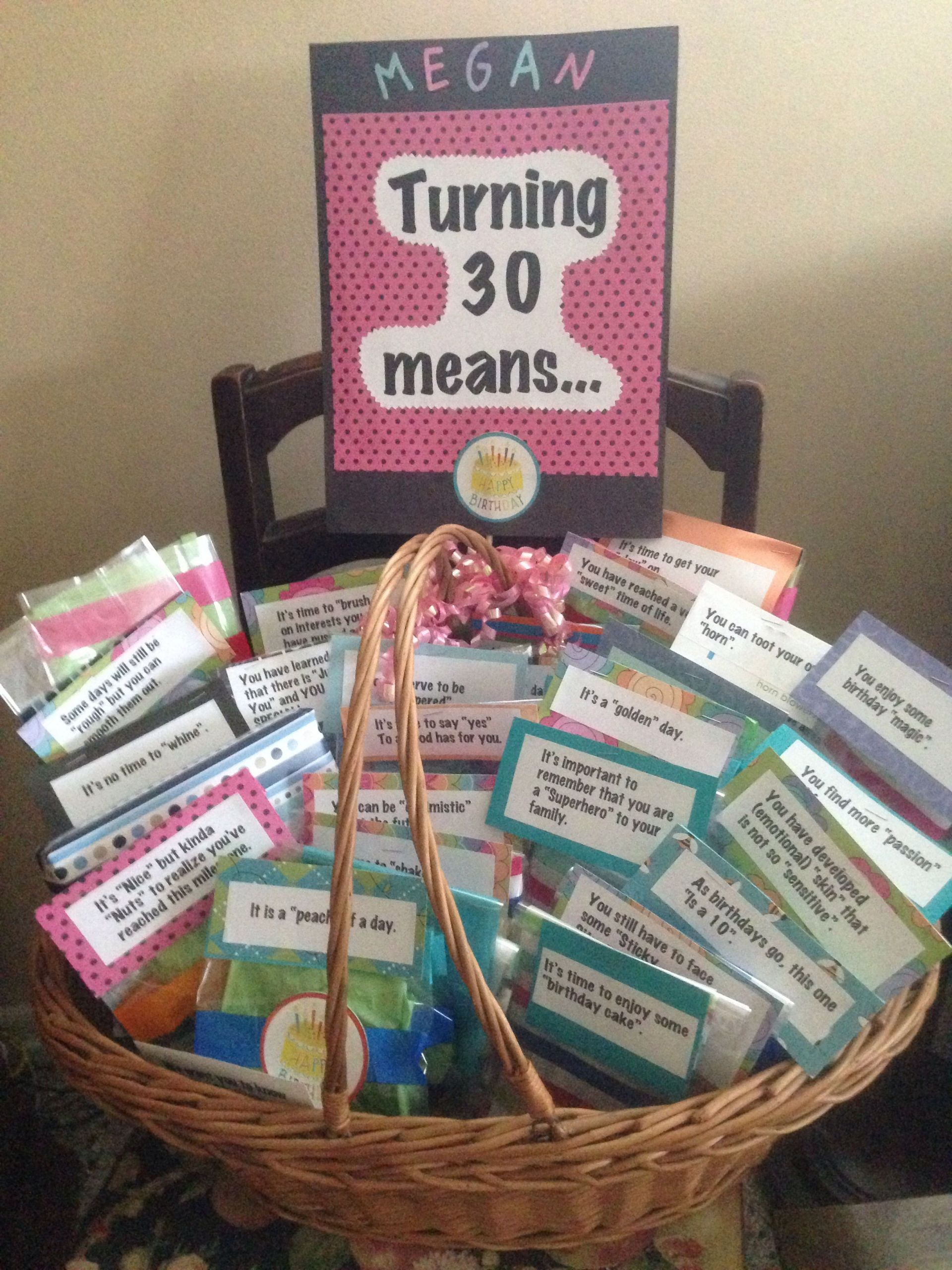 30Th Birthday Gift Ideas For Friend  Turning 30 Gift Basket