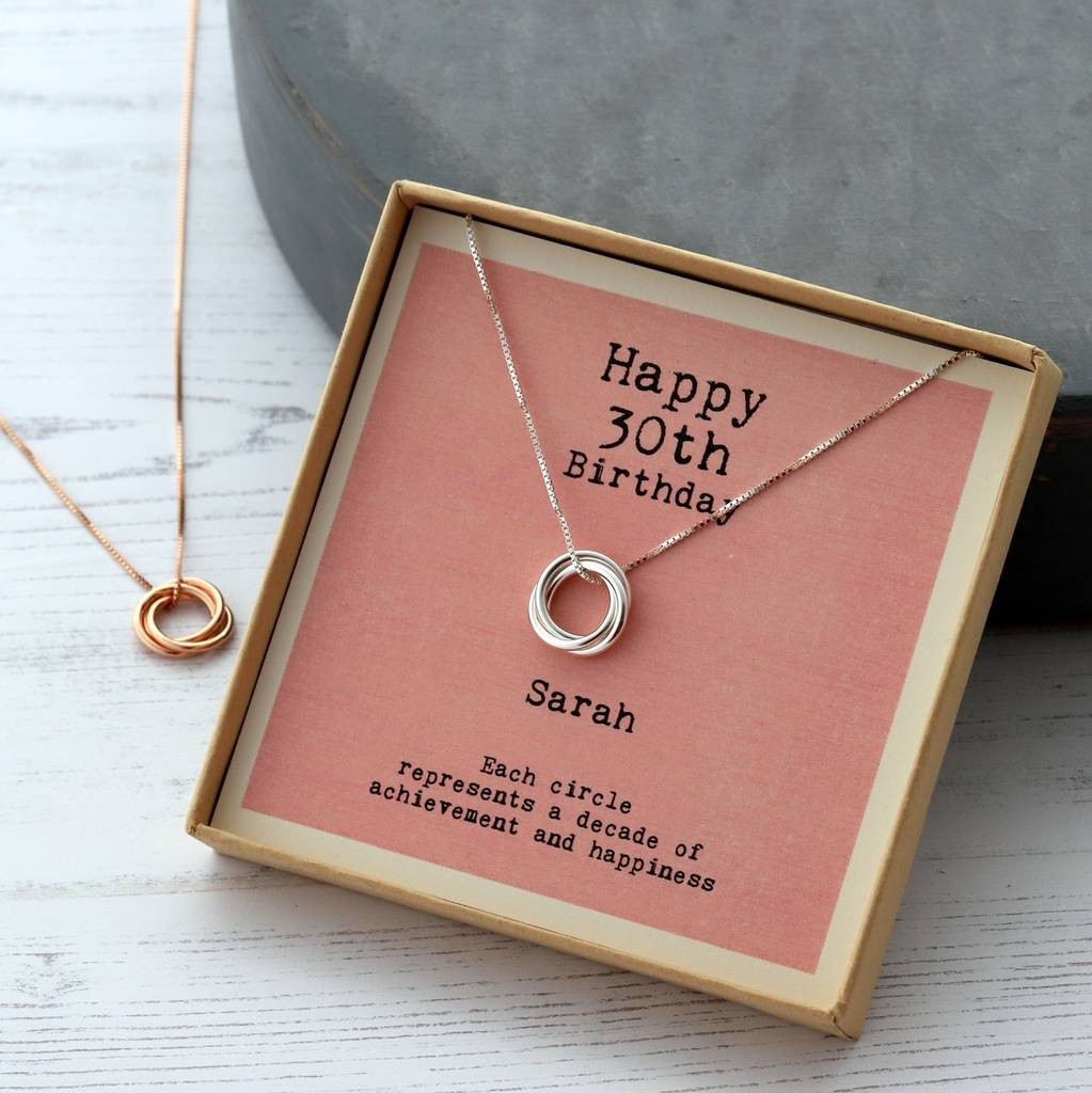 30Th Birthday Gift Ideas For Friend  sterling silver happy 30th birthday necklace by attic