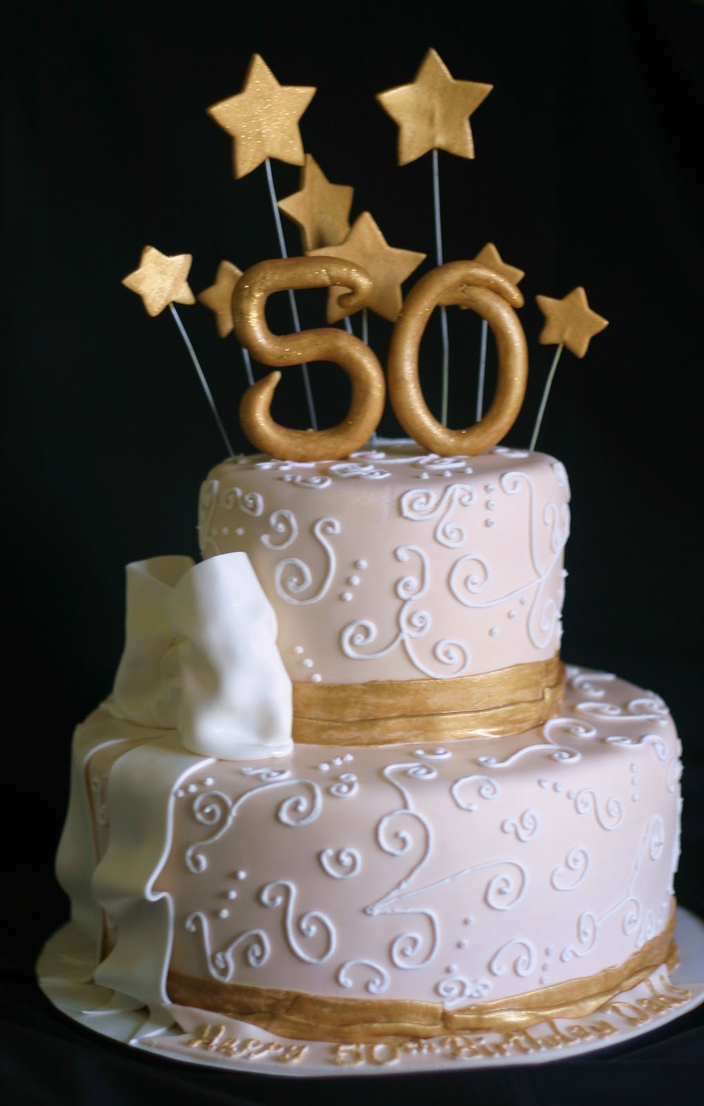 50th Birthday Cake Ideas For Her  Pink Little Cake Gold and light ivory 50th Birthday Cake