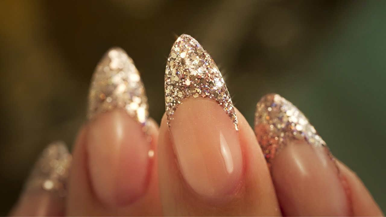 Almond Glitter Nails  French Almond Glitter Traditional French Acrylic Nail