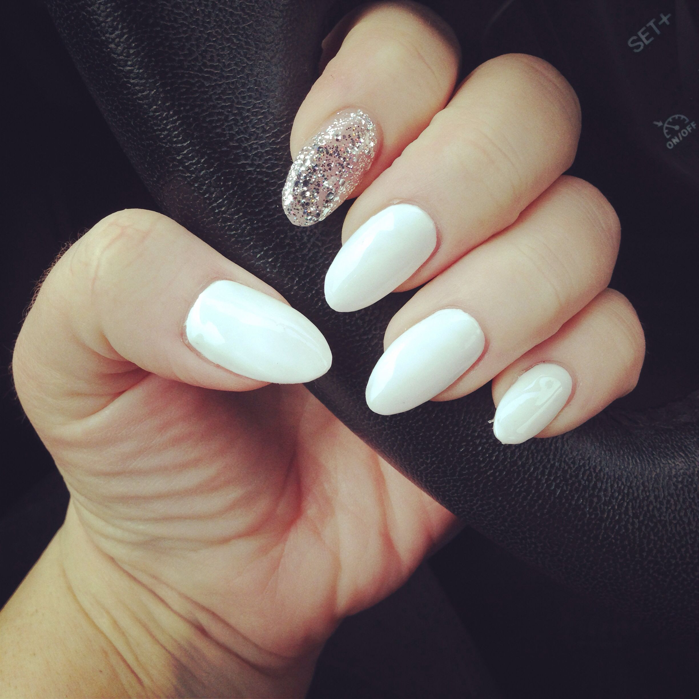 Almond Glitter Nails  White almond nails with silver glitter accent