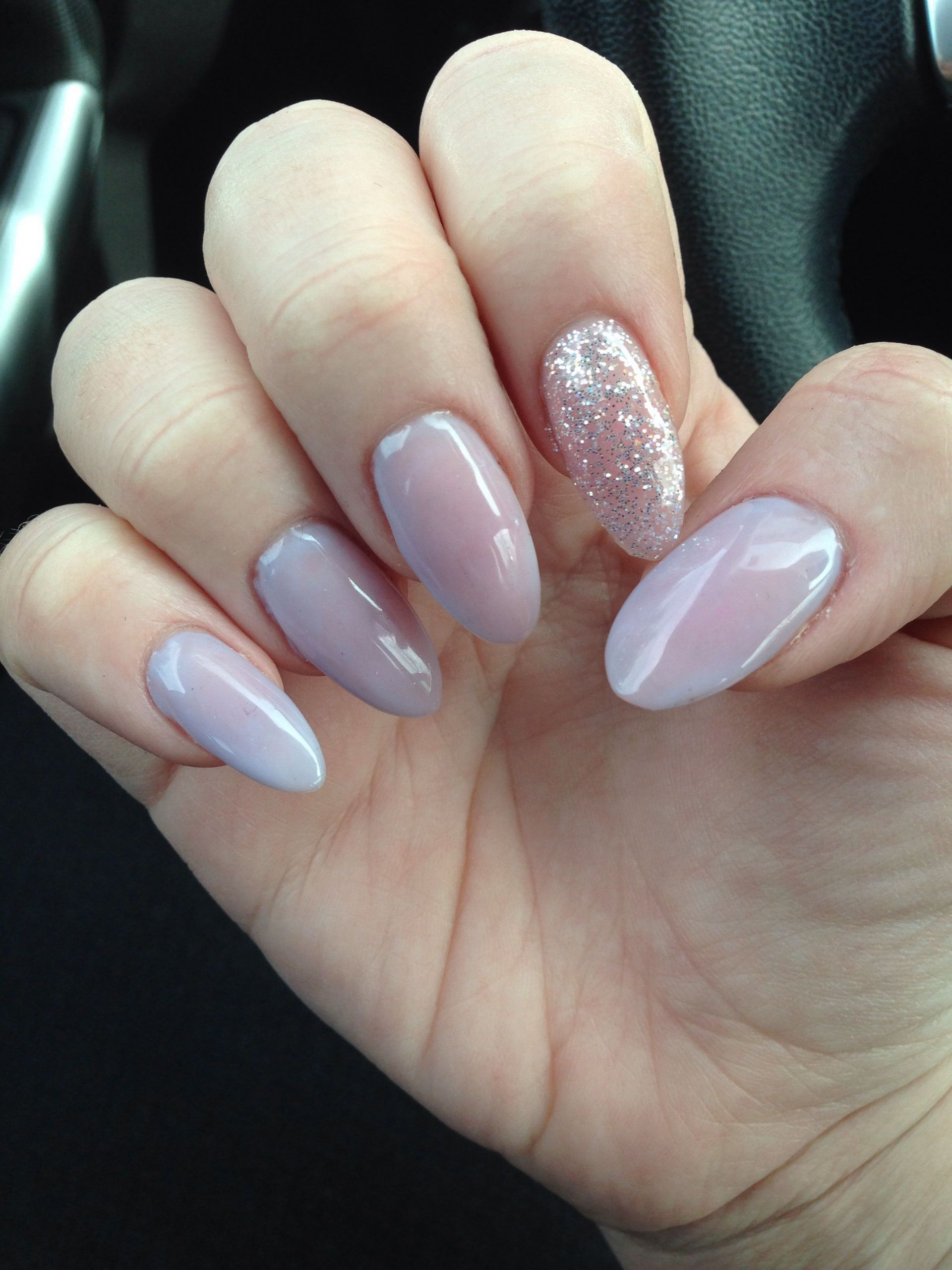 Almond Glitter Nails  Pale Lavender almond gel nails with glitter accent nail