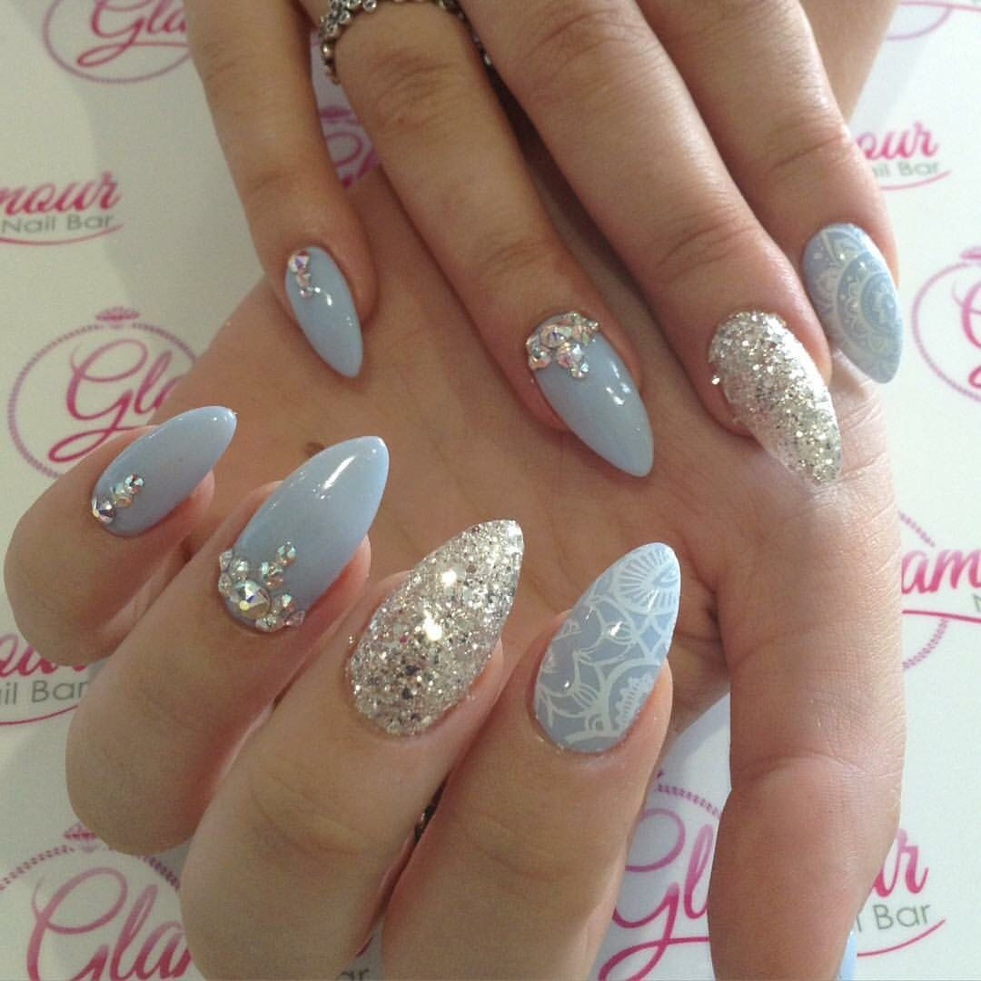 Almond Glitter Nails  Almond nails with glitter Swarovski crystals and lace