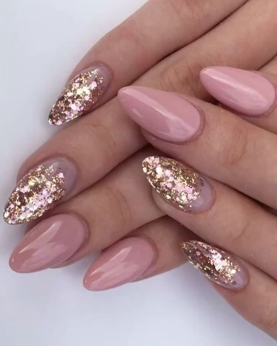 Almond Glitter Nails  30 of the Hottest & Must Have Almond Nail Designs of 2018