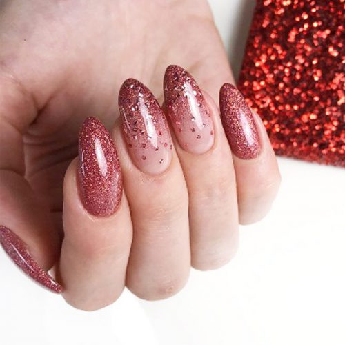 Almond Glitter Nails  39 Breathtaking Designs For Almond Nails To Refresh Your Look