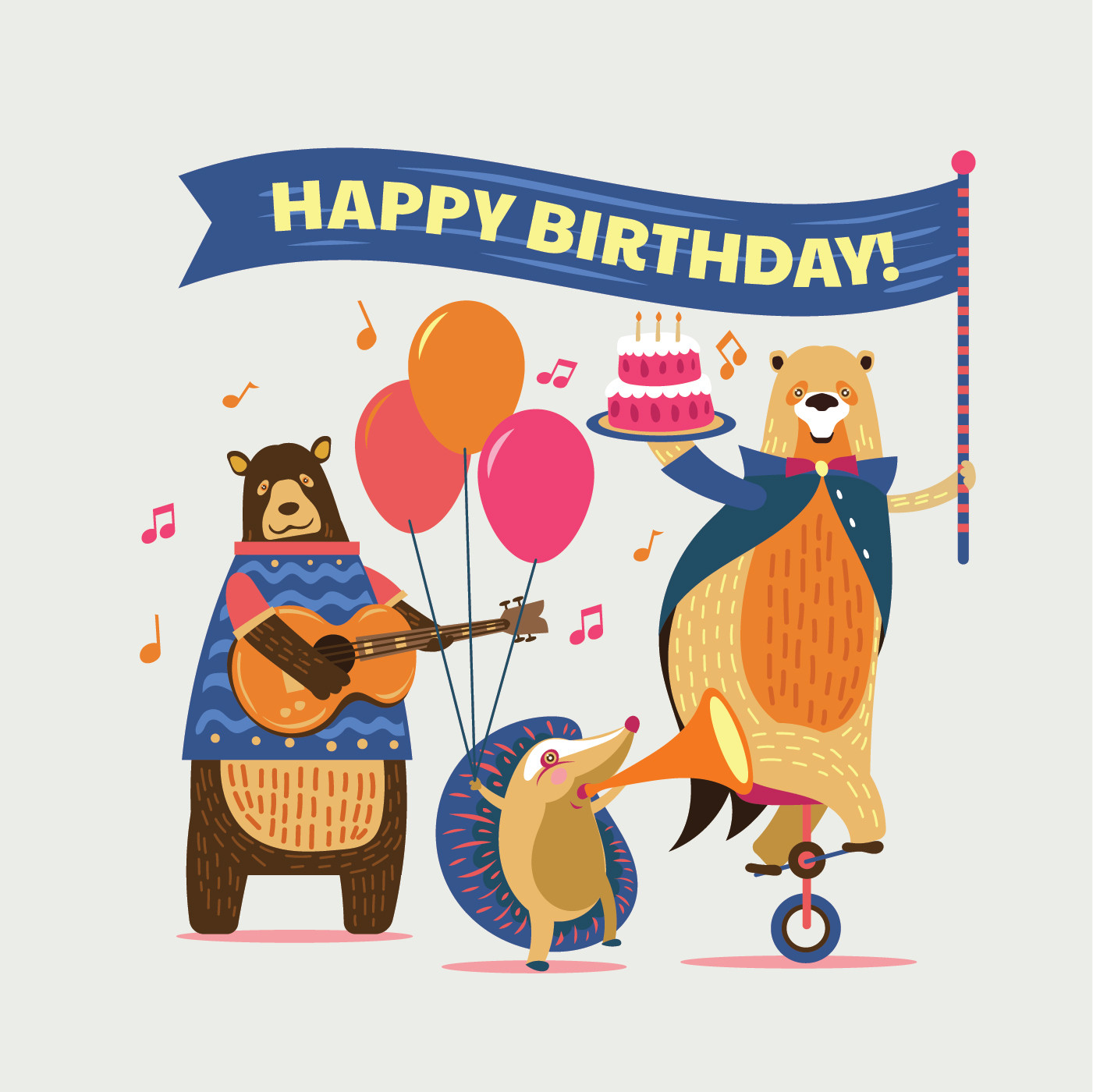 Animals For Kids Party  Cute Cartoon Animals Illustration for Kids Happy Birthday