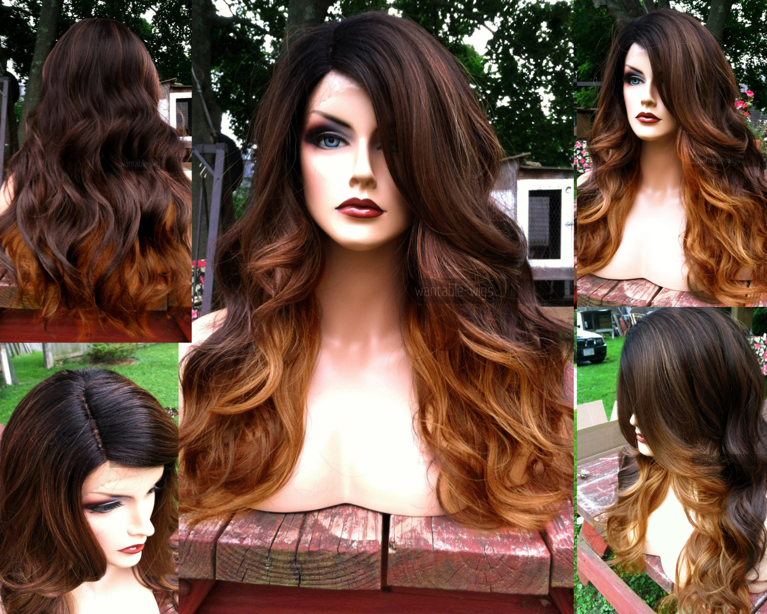 Auburn Hair Baby  Ombre Lace Front Wig Auburn Brown BABY HAIR Heat Safe