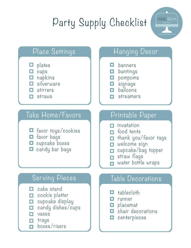 Baby Birthday Party Planner  Intial Design check list