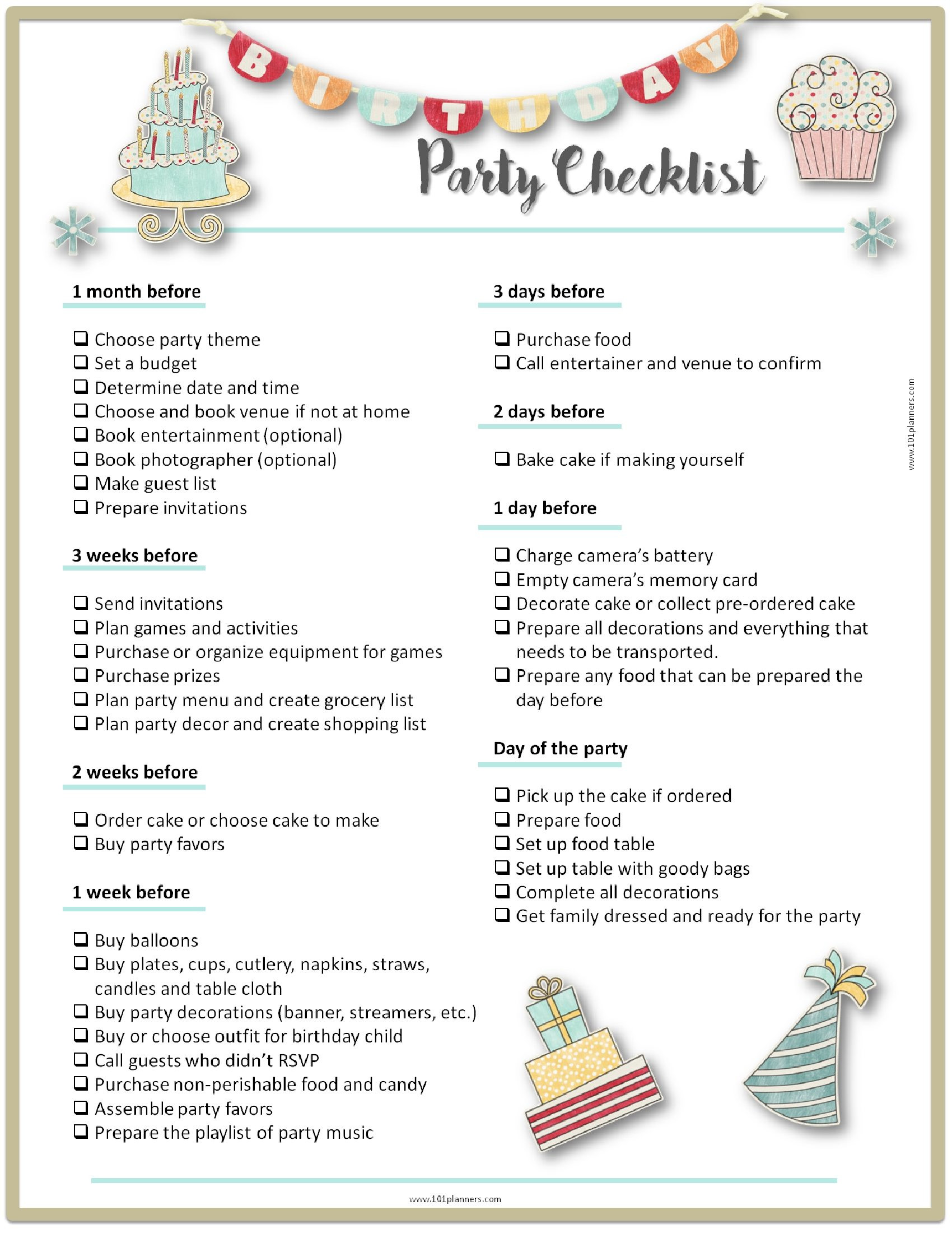 Baby Birthday Party Planner  26 Life easing Birthday Party Checklists