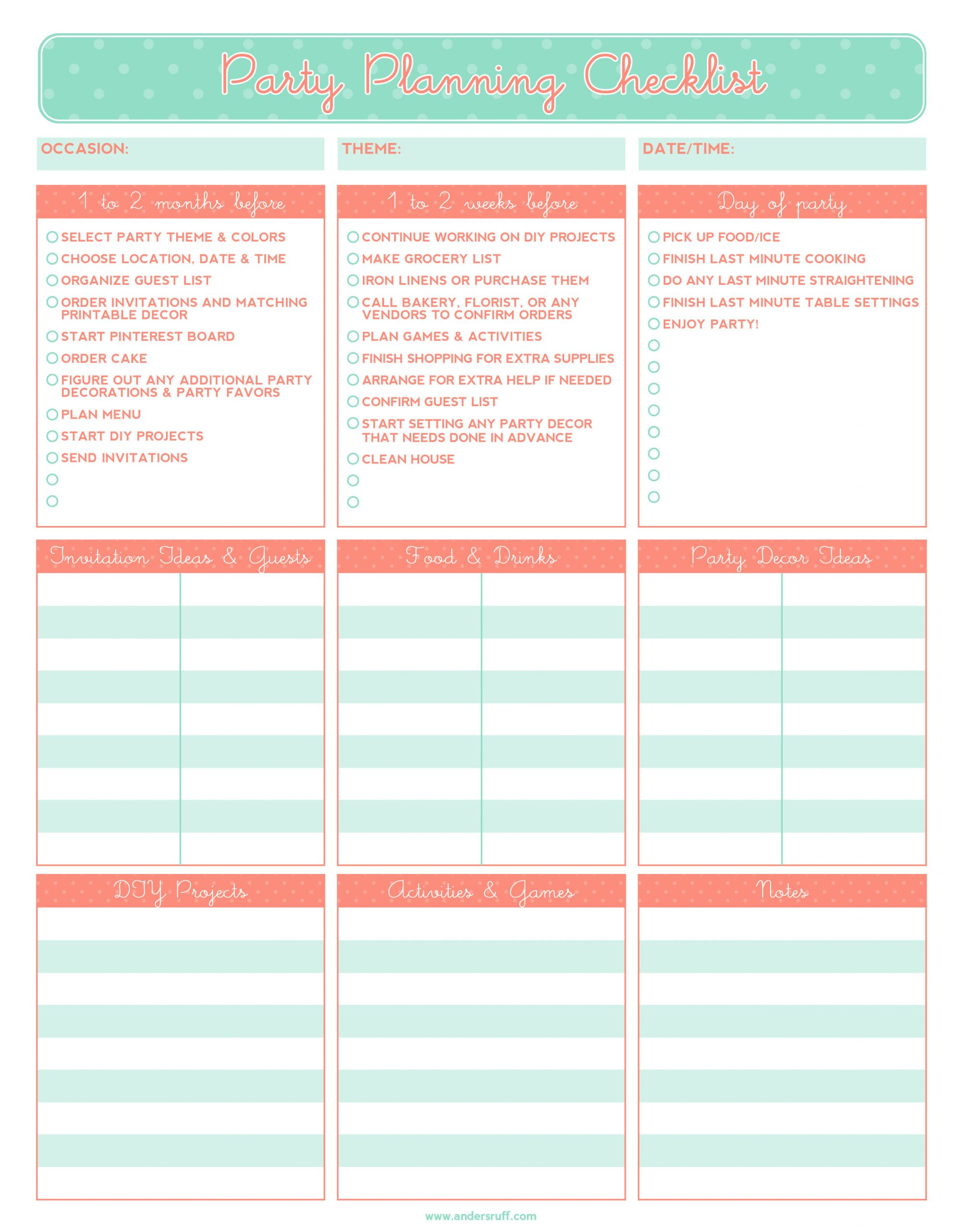 Baby Birthday Party Planner  Ruff Draft FREE PRINTABLE Party Planning Checklist