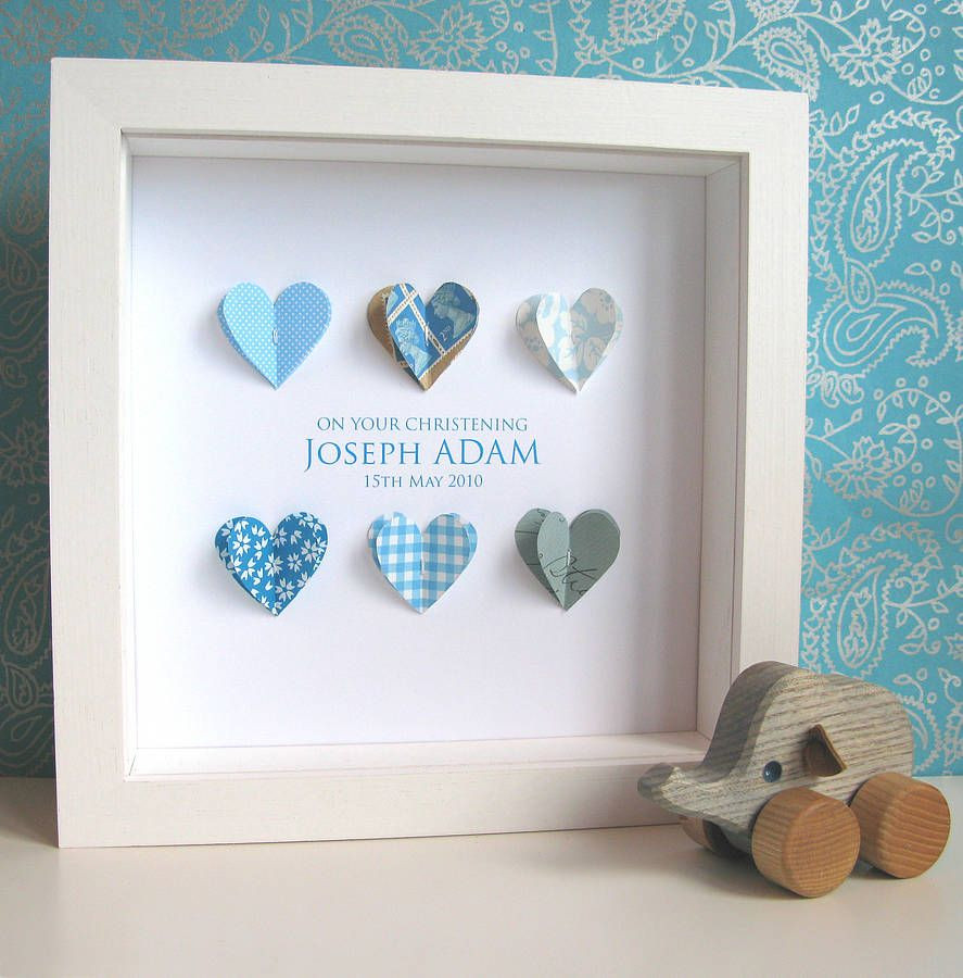 Baby Boy Christening Gift Ideas  Personalised Christening Paper Hearts