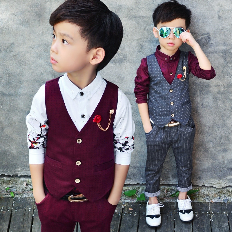 Baby Boy Party Clothes  2016 New Children s Formal Sets Two Pics Wedding Suits For