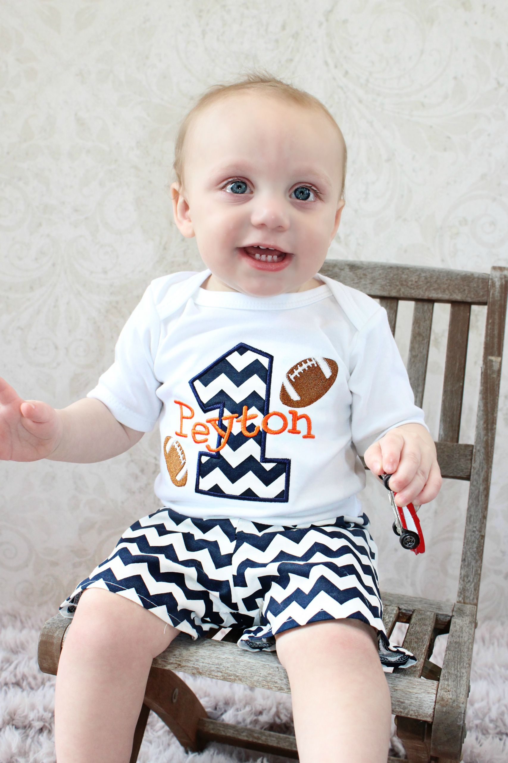 Baby Boy Party Clothes  Personalized Baby Boys First Birthday Outfit Football