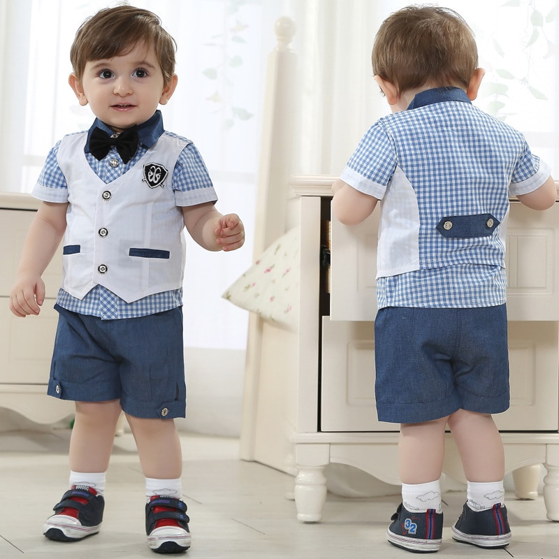 Baby Boy Party Clothes  kids summer clothing set baby boy birthday dress wholesale