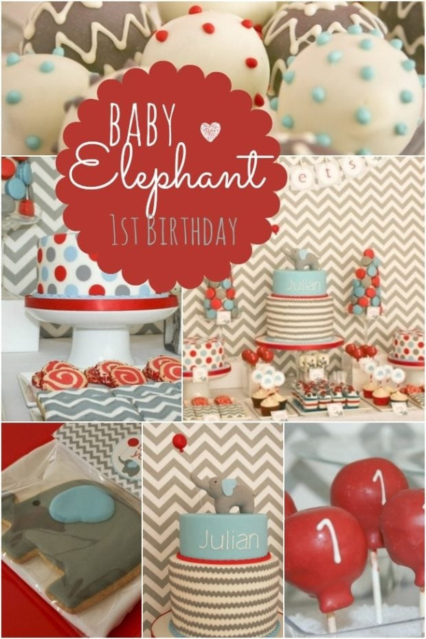 Baby Boy Themed Party  Baby Elephant Themed First Birthday Party
