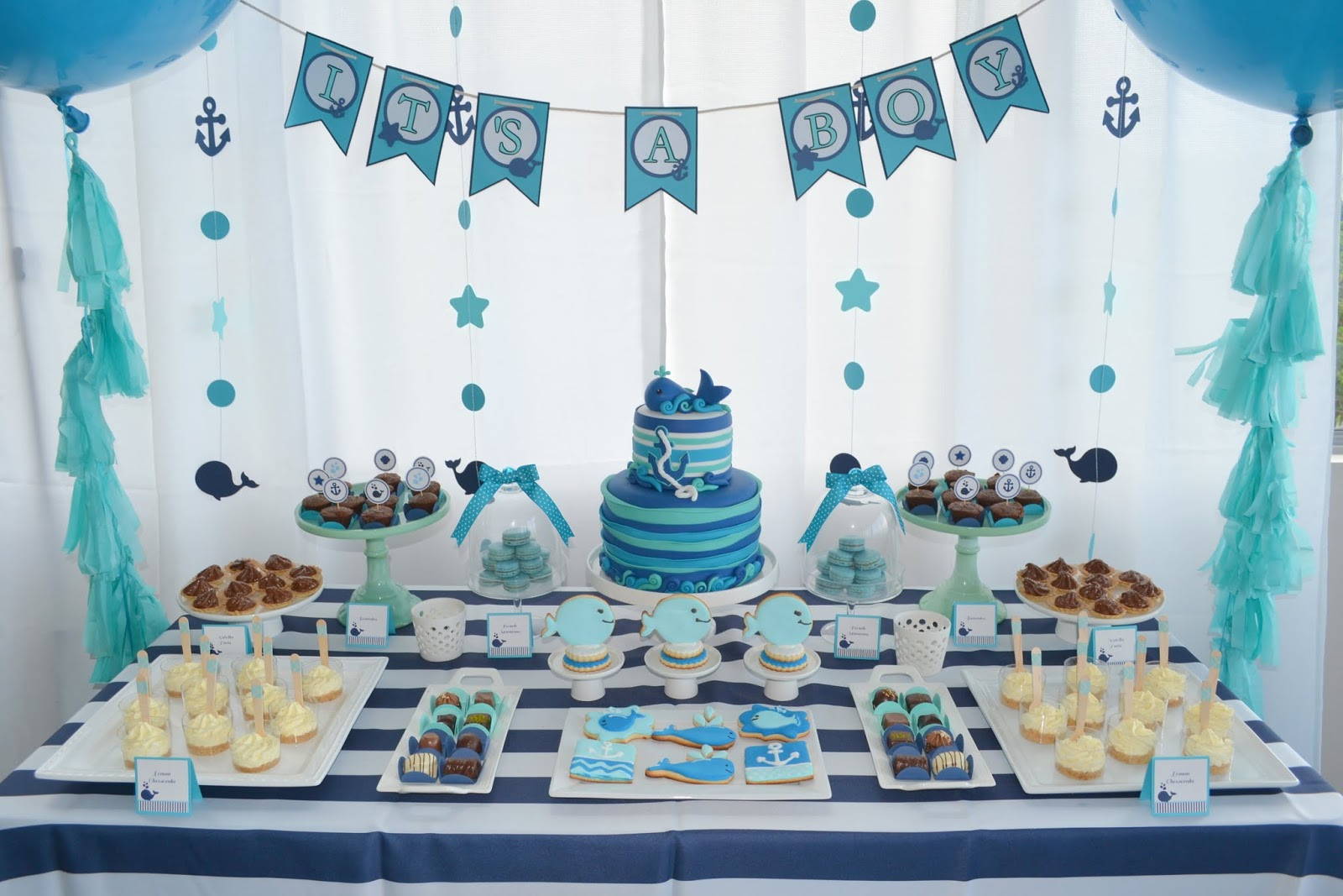Baby Boy Themed Party  Baby whale themed