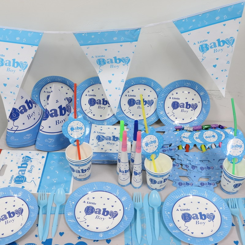 Baby Boy Themed Party  New 1Pack 244pcs Kid Birthday Party Decoration Set the