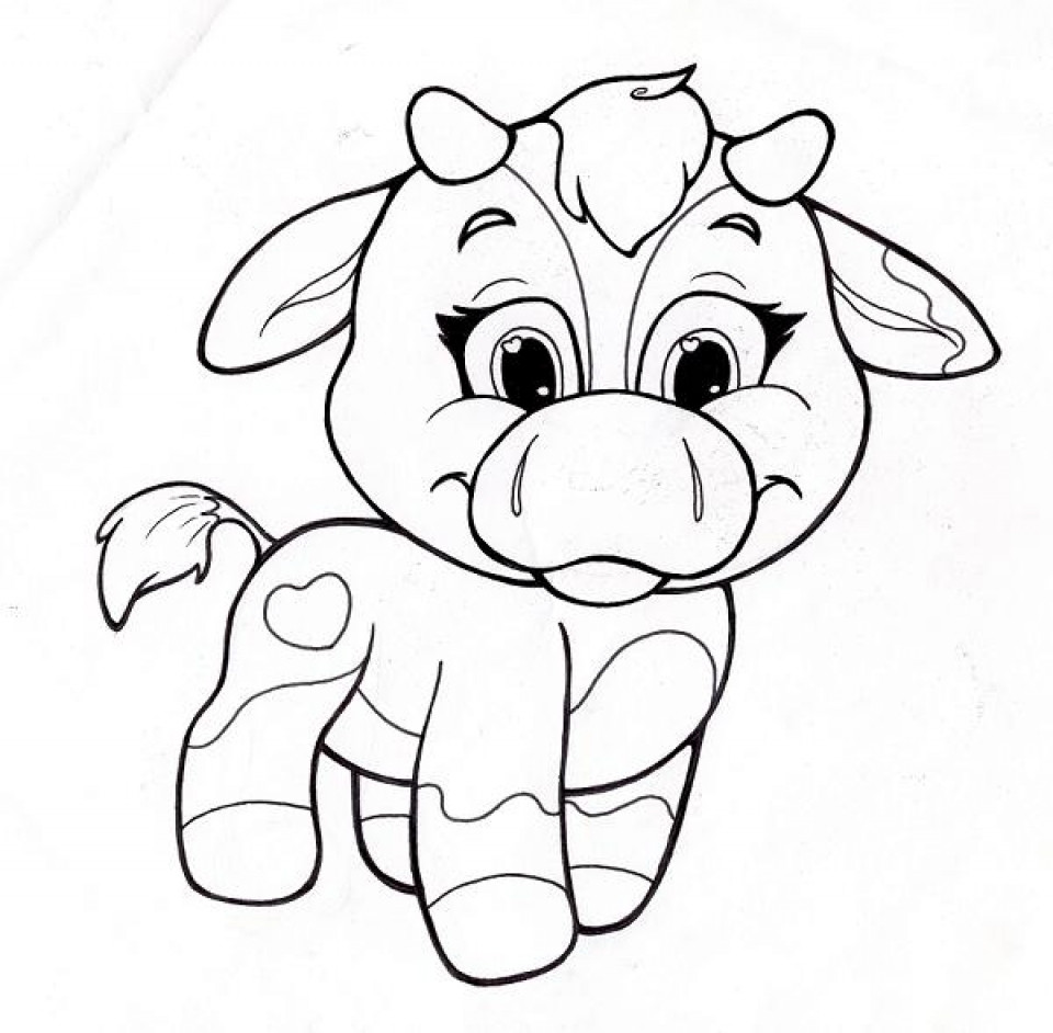 Baby Cow Coloring Pages  Get This Printable Cute Coloring Pages for Preschoolers