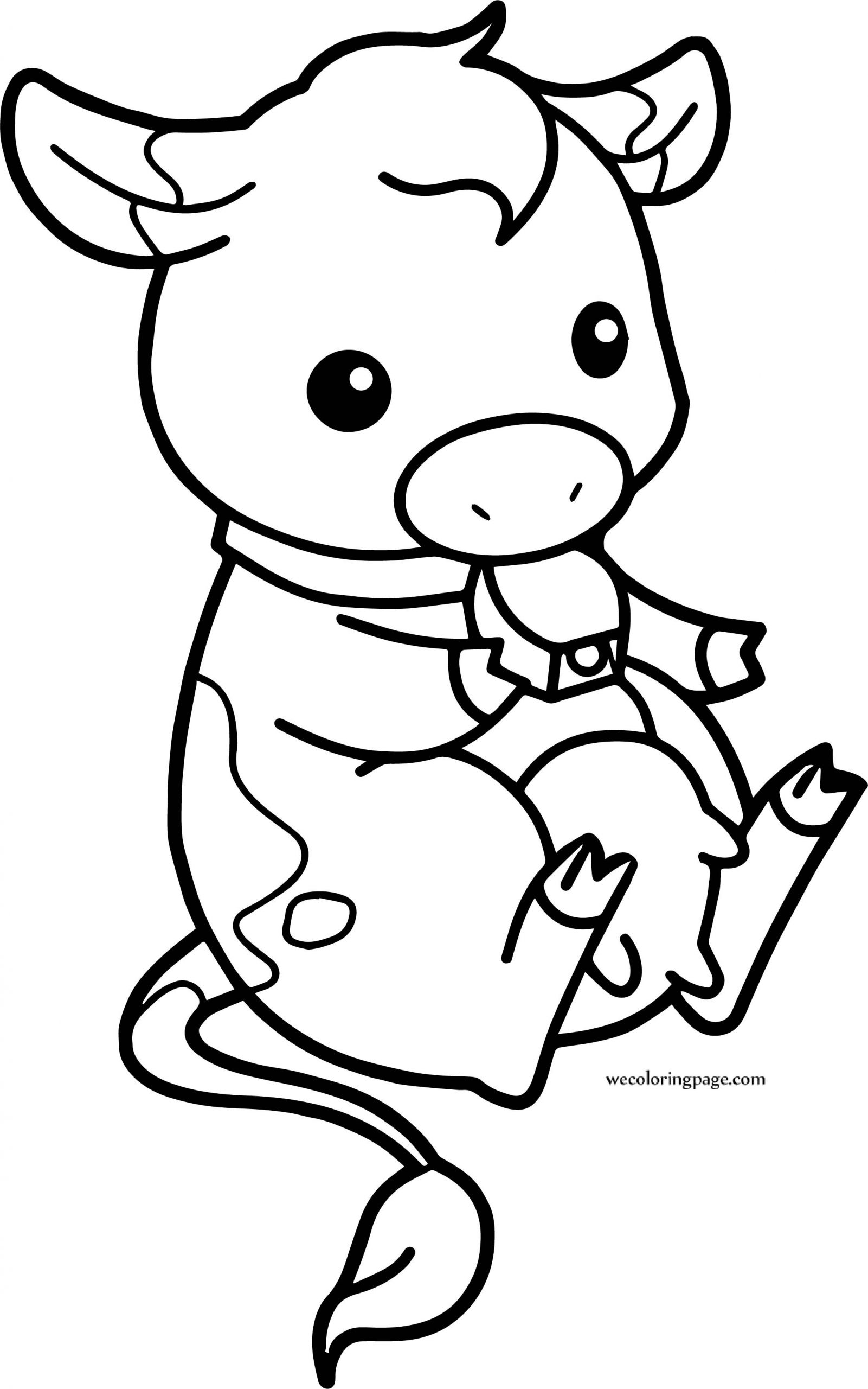 Baby Cow Coloring Pages  Baby Cow Chibi Farm Cow Coloring Page