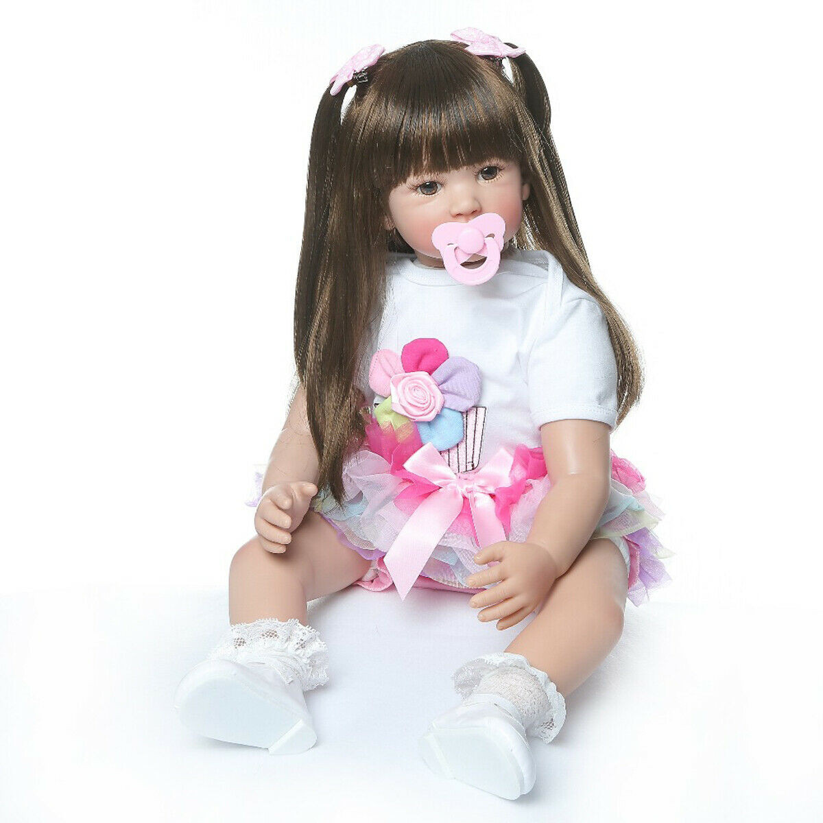 Baby Doll With Long Hair  24 Toddler Baby Dolls Lifelike Reborn Girl Doll Long