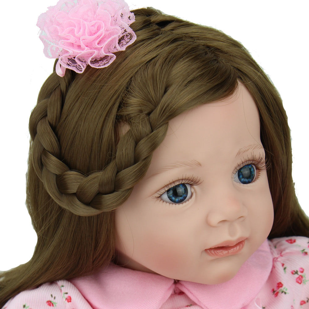 """Baby Doll With Long Hair  24"""" Reborn Baby Doll Long hair Girl Likelife Baby Toys"""