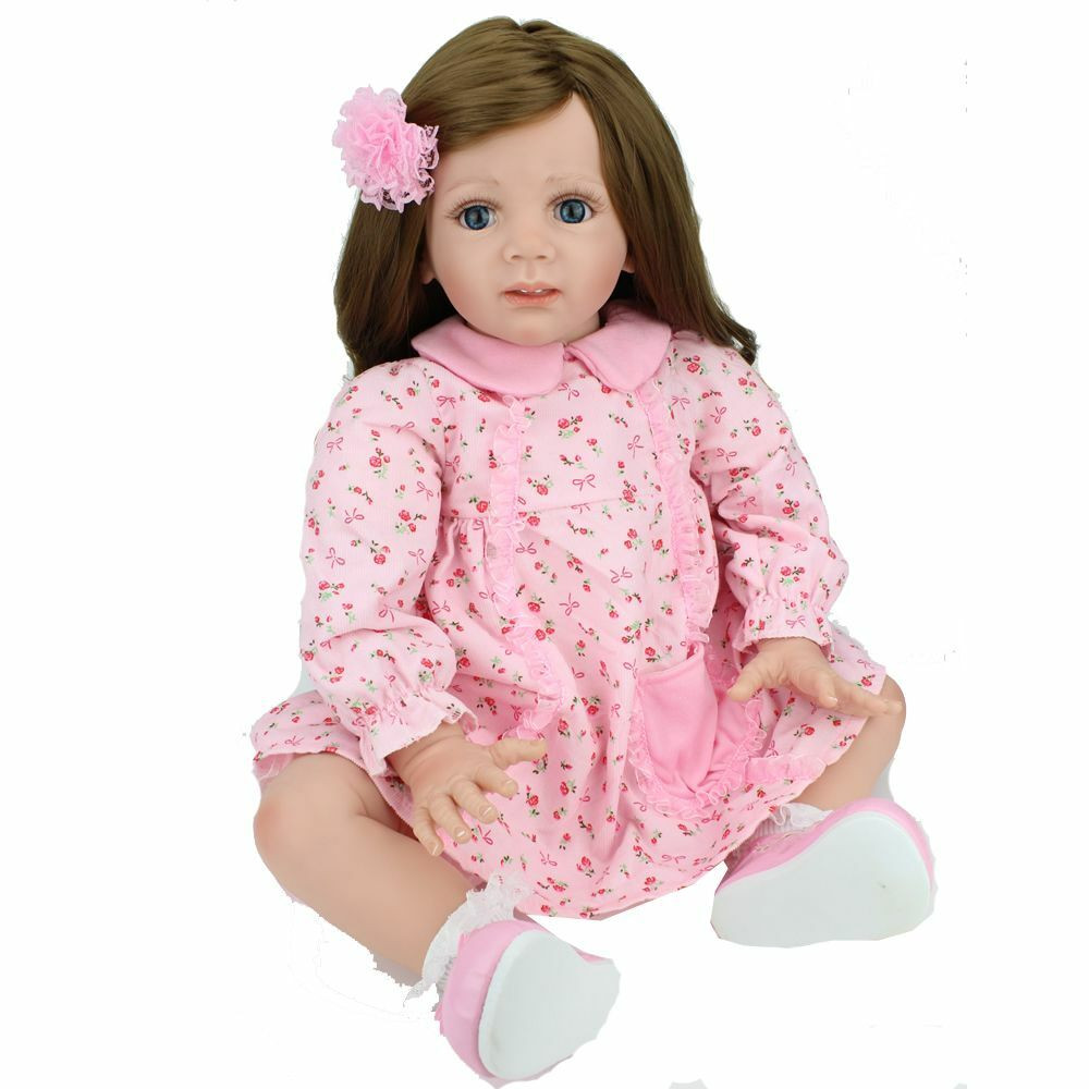 Baby Doll With Long Hair  Reborn Baby Dolls Soft Vinyl Real Life Long Hair Baby Doll