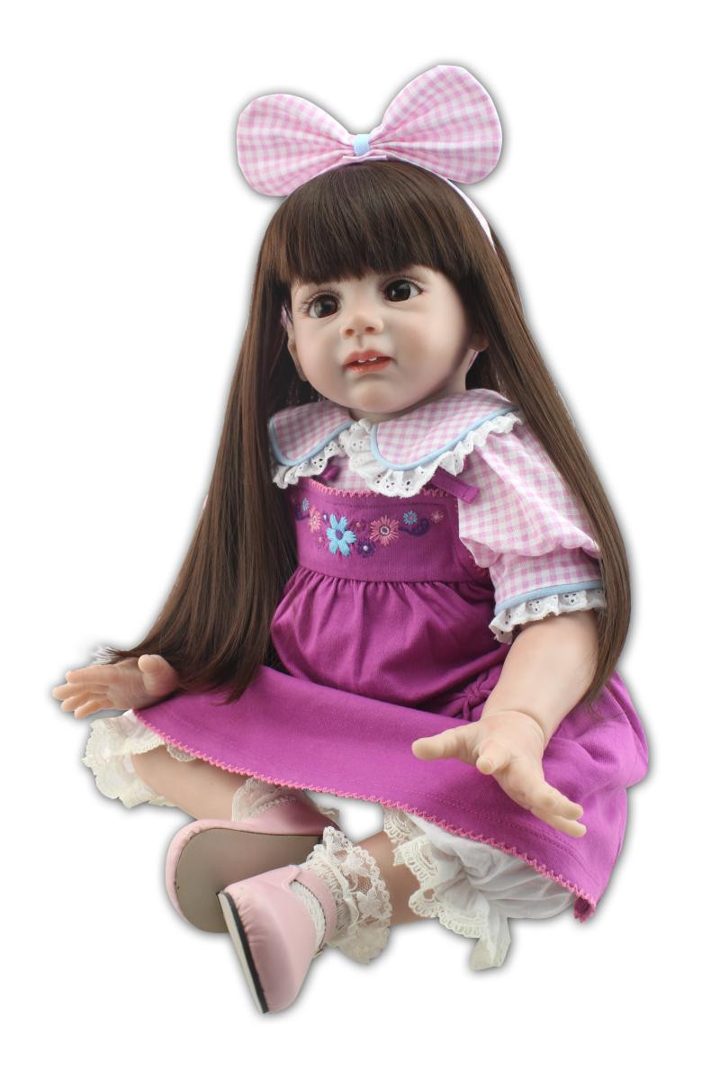 """Baby Doll With Long Hair  24"""" 60cm Silicone Vinyl Reborn Fridolin Baby Doll Toy Long"""