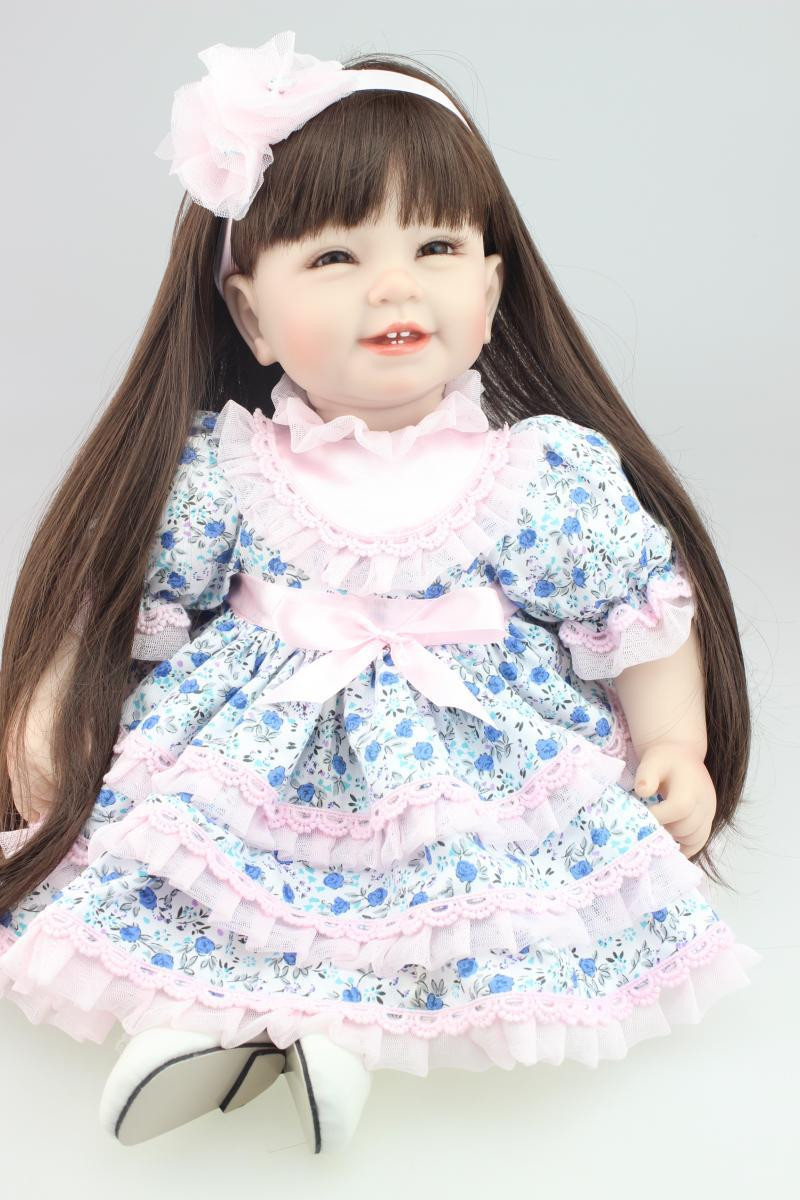 Baby Doll With Long Hair  22 inch 55cm real girl doll reborn baby toys long hair