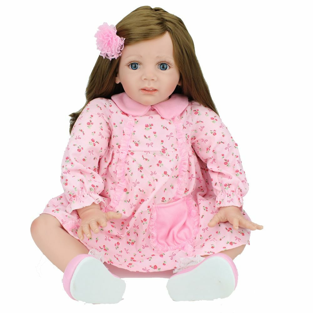 """Baby Doll With Long Hair  24"""" Lovely Reborn Baby Dolls Long hair Girl Baby Toys"""
