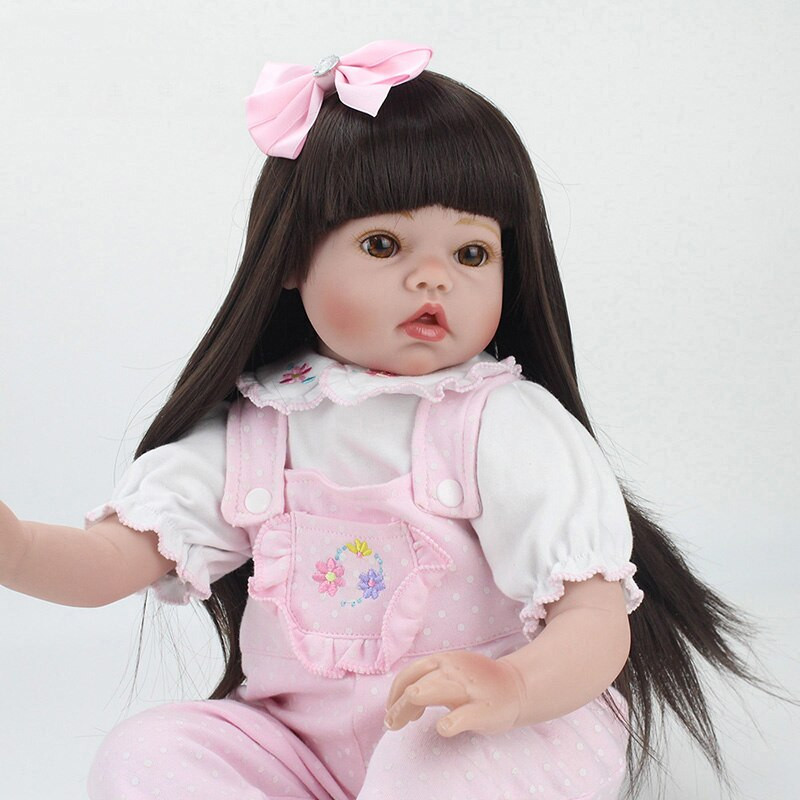 Baby Doll With Long Hair  Realistic 55CM Reborn Baby Doll Long Hair Wigs Realistic