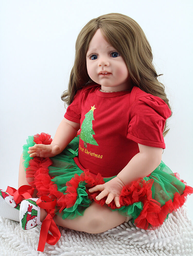 Baby Doll With Long Hair  Reborn Toddler Baby Dolls 24 Soft Vinyl Silicone Long