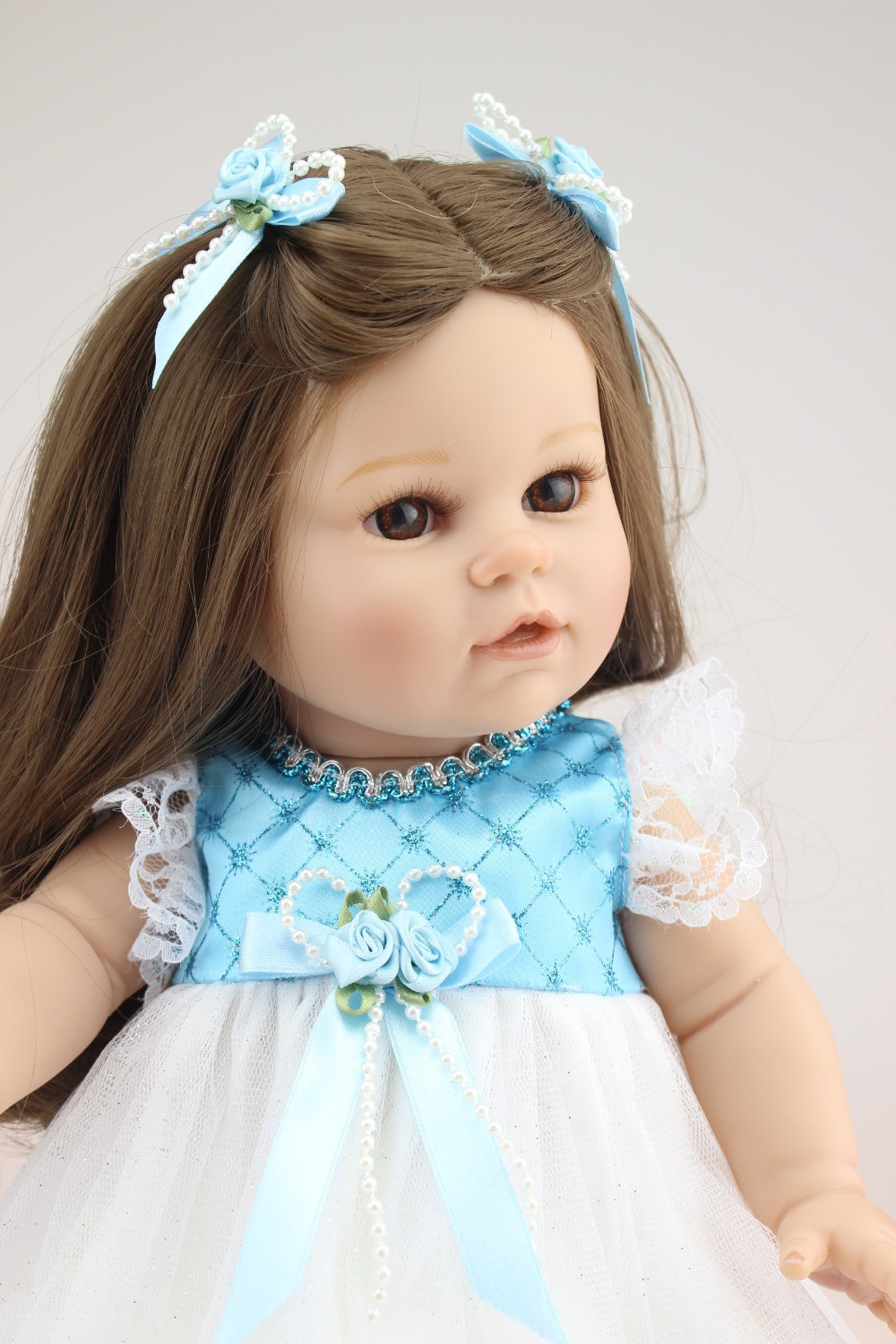 Baby Doll With Long Hair  Brown long straight hair GIRL Dolls 16 Reborn Baby dolls