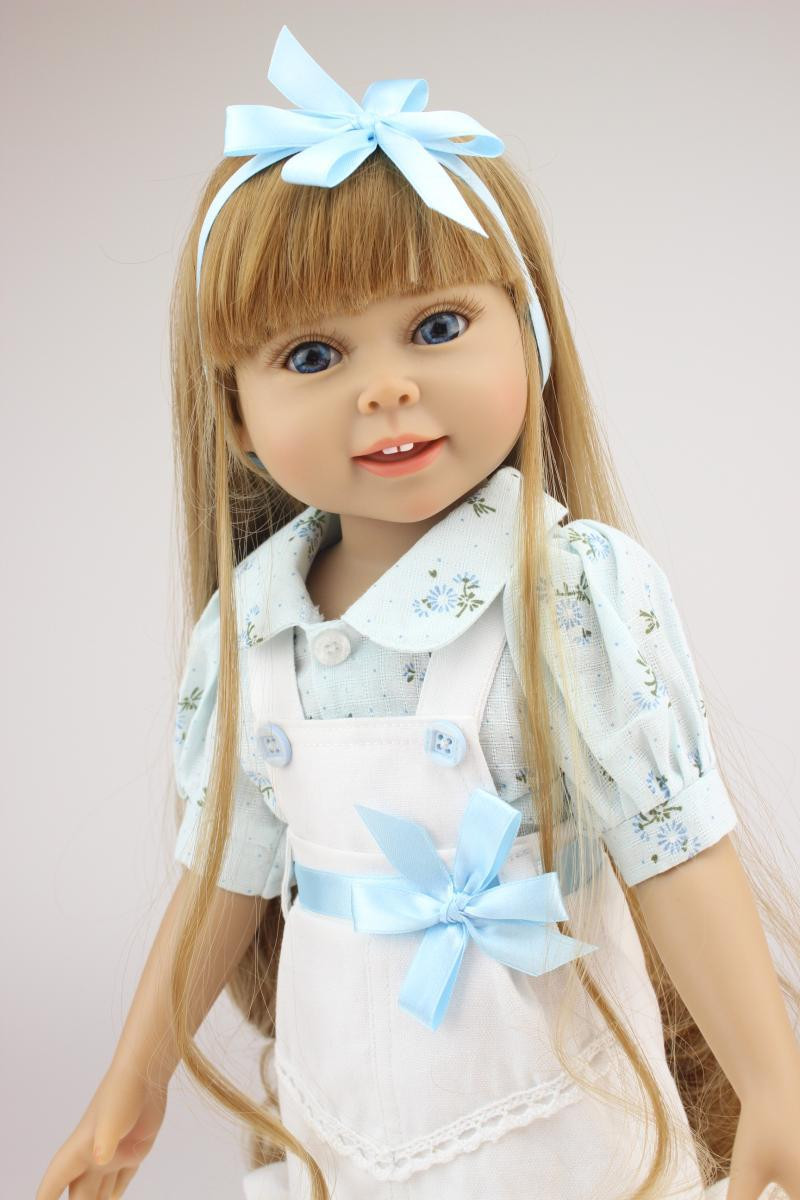 Baby Doll With Long Hair  Brown long straight hair GIRL Dolls 18 Reborn Baby dolls