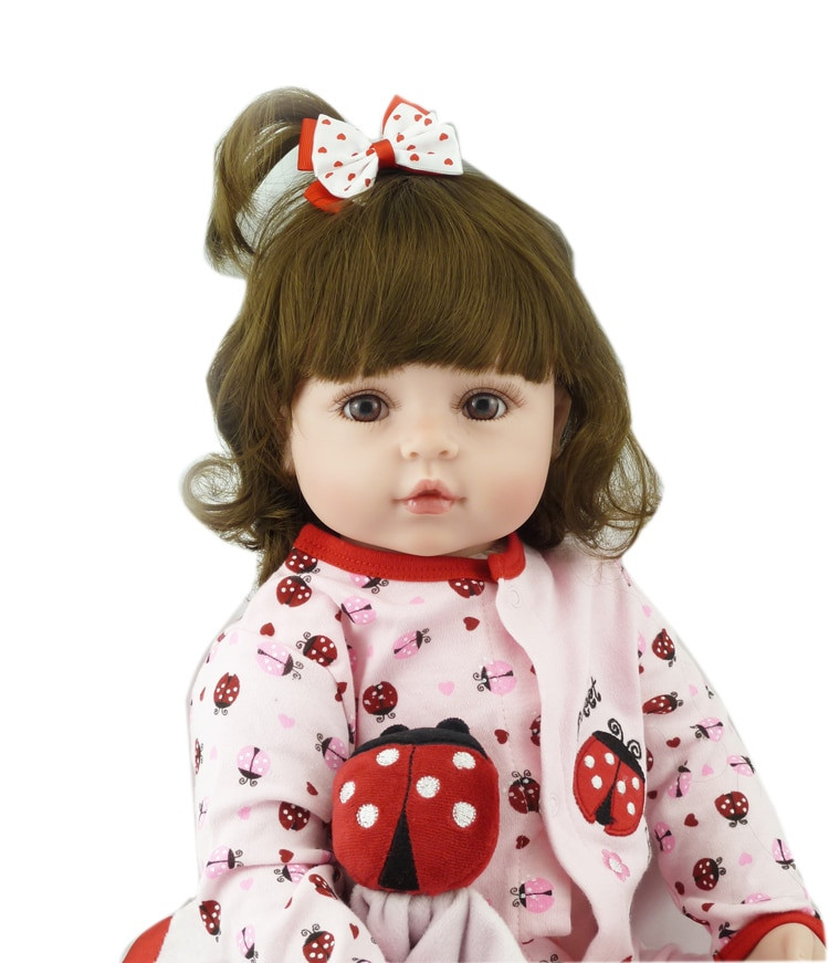 Baby Dolls With Hair  22inch princess girl doll brown curly hair wig silicone