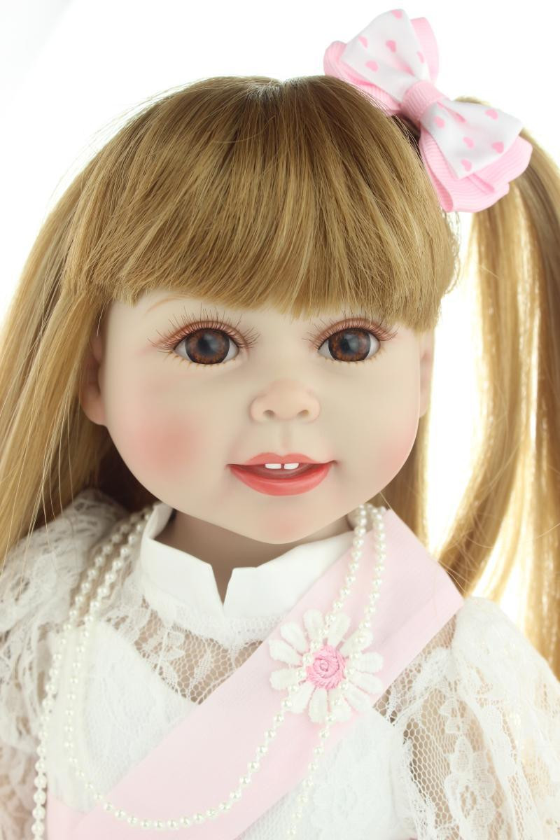 Baby Dolls With Hair  Aliexpress Buy Brown long straight hair GIRL Dolls