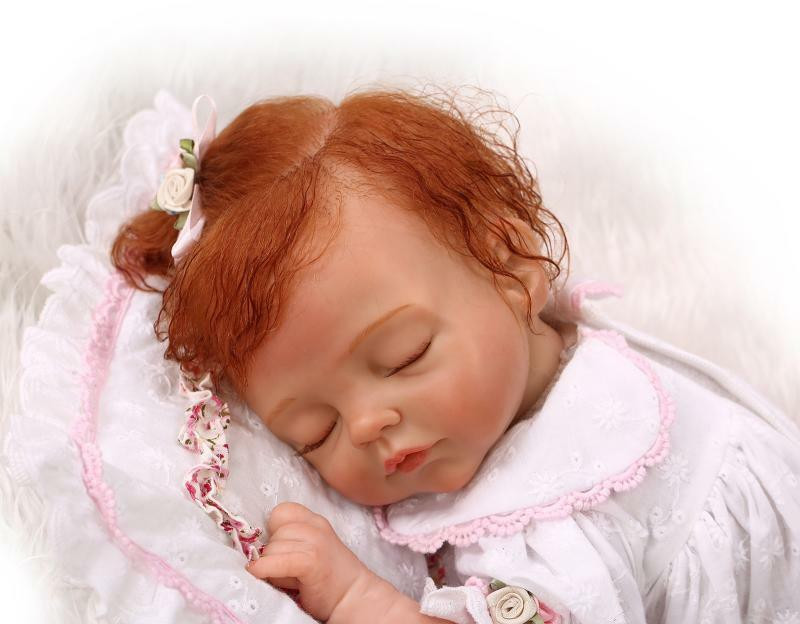 Baby Dolls With Hair  Realistic curly hair newborn girl doll reborn baby toy