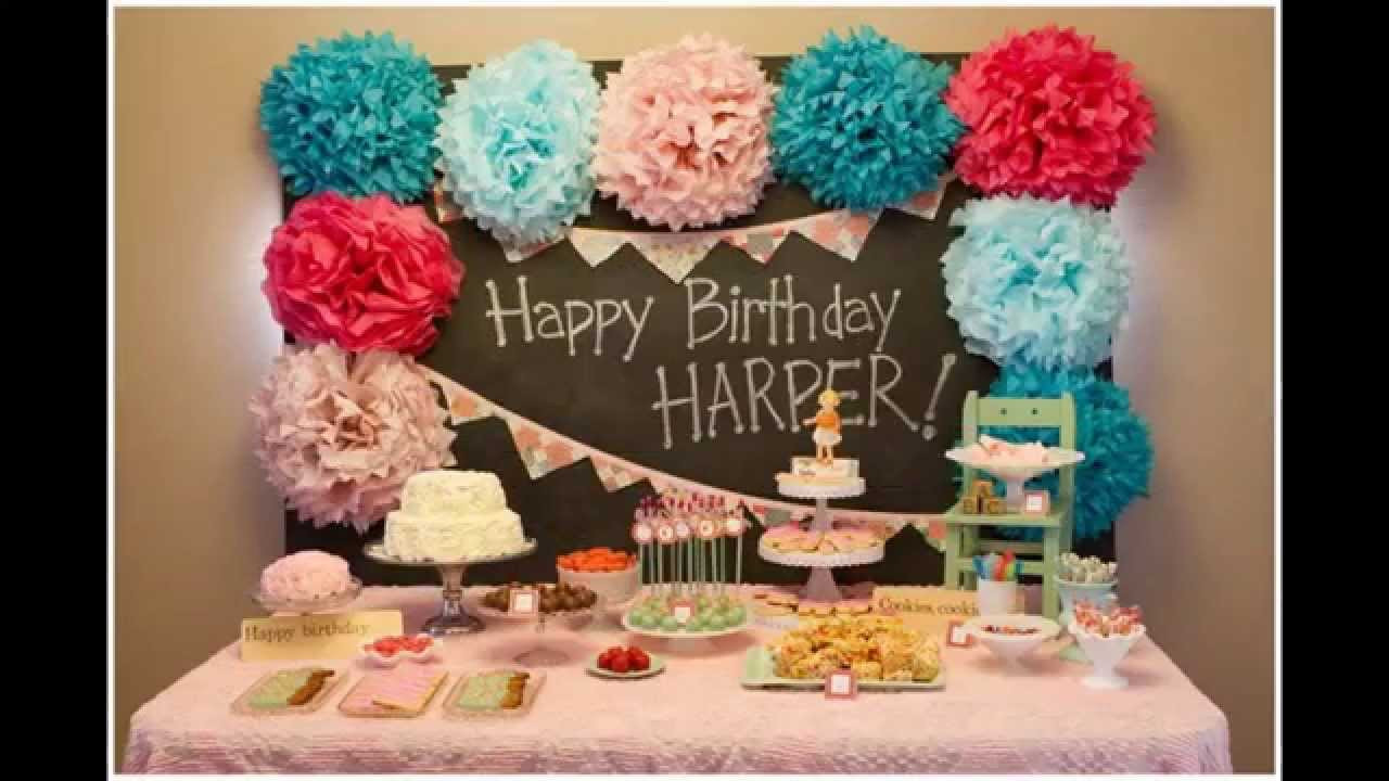 Baby Girl 1St Birthday Party Decorations  Baby girl first birthday party decorations at home ideas