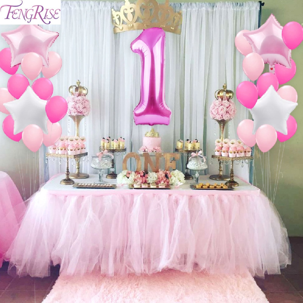 Baby Girl 1St Birthday Party Decorations  FENGRISE 1st Birthday Party Decoration DIY 40inch Number 1