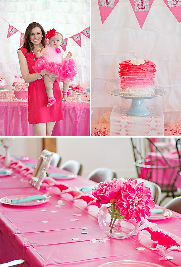 Baby Girl 1St Birthday Party Decorations  Girly & PINK Ombre First Birthday Party – Hostess with the