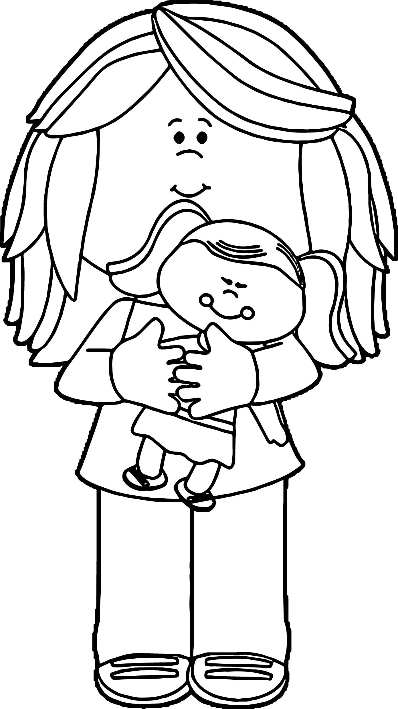 Baby Girl Coloring Pages  Little Girl Holding Baby Doll Coloring Page