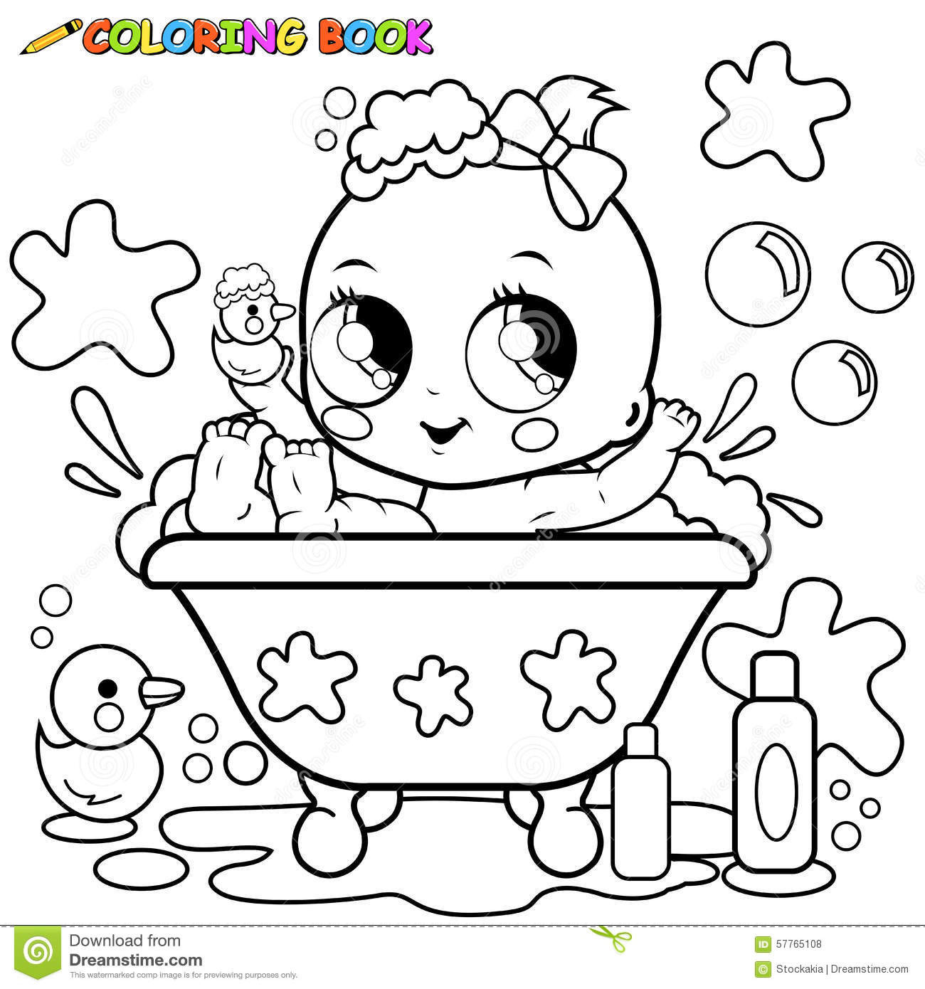 Baby Girl Coloring Pages  Baby Girl Taking A Bath Coloring Page Stock Vector