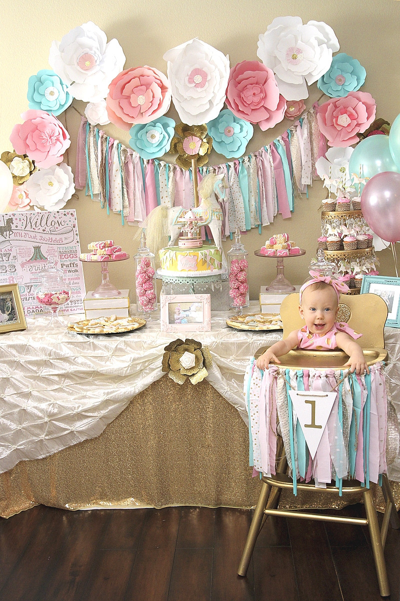 Baby Girls 1St Birthday Party Supplies  A Pink & Gold Carousel 1st Birthday Party Party Ideas
