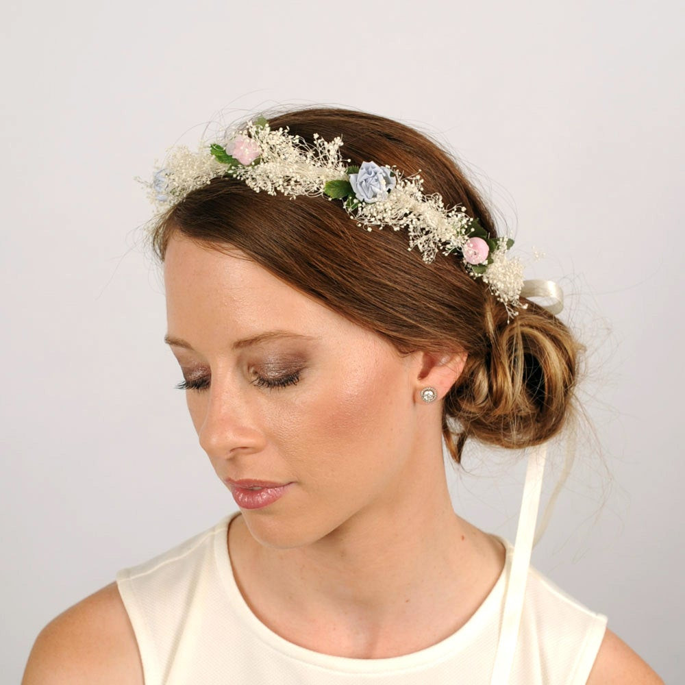 Baby Hair Pieces  Babys Breath Headband Woodland Wedding Headpiece by