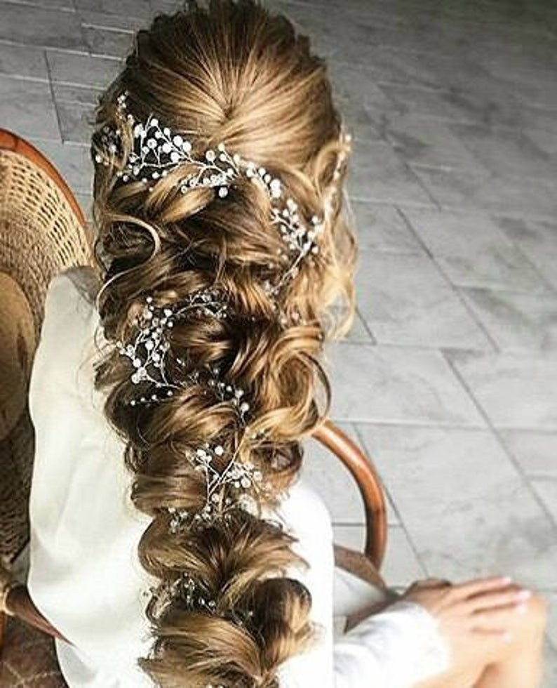 Baby Hair Pieces  Crystal and Pearl hair vine Babys breath hair piece