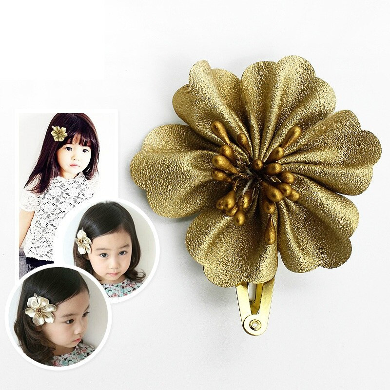 Baby Hair Pieces  2 Pieces lot New Baby Girls Golden Flower Hair Accessories