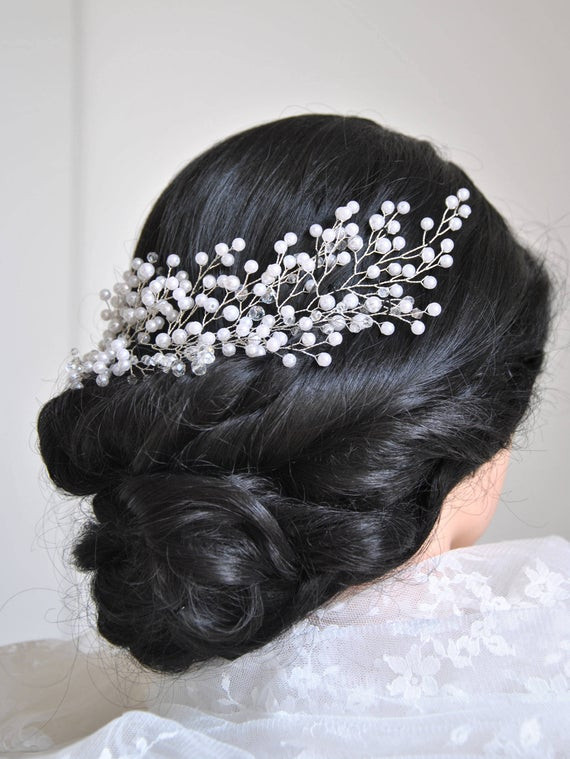 Baby Hair Pieces  Bridal hair piece Babys breath hair piece Winter Wedding hair