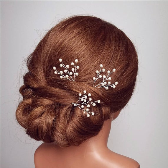 Baby Hair Pieces  Pearl Hair Pins Bridal Hair Pieces Baby s Breath Hair