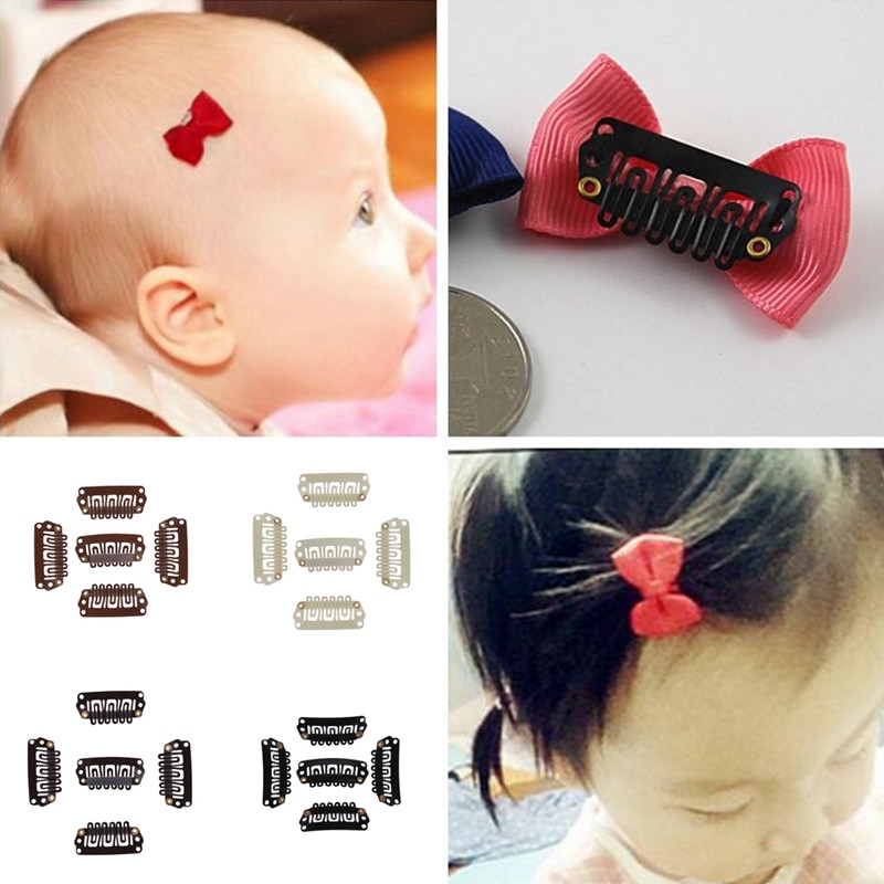 Baby Hair Pieces  50 Pcs lot Solid Dot Baby Mini Small Hair Clips Weft Snap