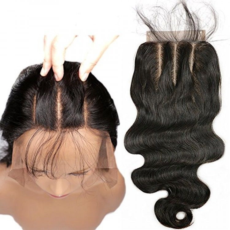 Baby Hair Pieces  3 Part Lace Closure 4x4 Body Wave Human Hair Closure Piece