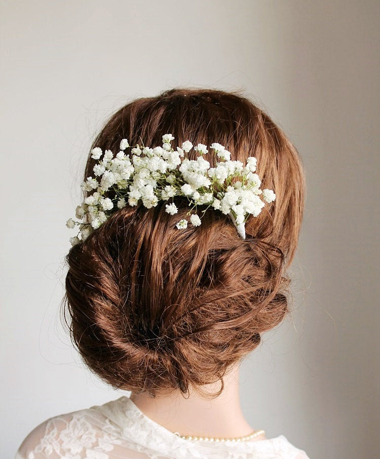 Baby Hair Pieces  Baby s Breath Hair Vine Rustic Head Piece Bun Hair by